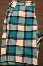 Loudmouth Golf Mens Casual Shorts Blue Teal White Plaid Multi Color Size 36W