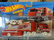 Hot Wheels STUNTIN' SEMI Collectors Vehicle Transport Trailer Red White Connect