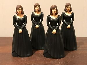 4 Vintage Bridesmaid Black Dress Cake Topper Cake Decoration Lot # 13