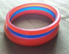 DENVER BRONCOS TEAM COLORS ORANGE & BLUE PLASTIC BANGLE BRACELETS SUPER BOWL 50