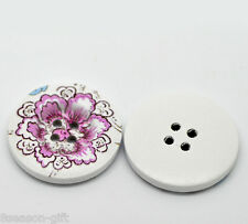 30PCs Purple Flower Pattern 4 Holes Wood Sewing Buttons Scrapbooking 30mm Dia