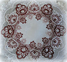 "16"" Doily Round  Victorian DECADENT WHITE  & Burgundy European Lace Table Topper"