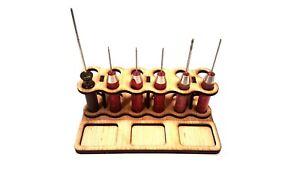 12 Hole Laser Cut DIY Craft Wood RC Tool Rack Wooden Stand Holder Organizer
