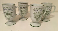 VINTAGE Set of 4 Irish Coffee  Porcelain Footed  Mugs Ireland St Patrick's Day