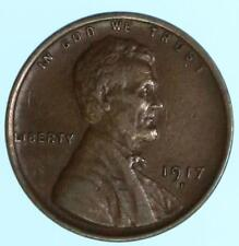 """Sharp Early """"D"""" Mint 1917-D Lincoln Wheat Cent US Copper Penny Coin Lot E759"""