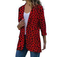 Women Leopard Print Blazer Lapel Coats Party Casual Jacket Outwear Plus Size UK