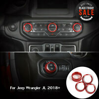 For 2018 JL Jeep Wrangler Headlight Button Air Conditioner Switch Ring Cover Red