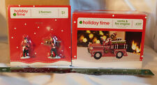 "3"" Fire Engine w Santa & 2 Firemen Figures WalMart 12481 Holiday Time Christmas"