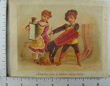Victorian Christmas Trade Card Children Painting Giant Boots Big Bottle &C