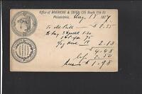 PHILADELPHIA,PENNSYLVANIA GOVERNMENT POSTAL CARD,ADVT BOERICKE & TAFEL.