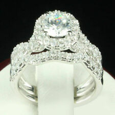 2.00 Ct Round Cut Diamond Bridal Set Engagement Wedding Ring 14K White Gold Over