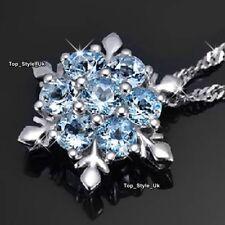 XMAS JEWELLERY BLACK FRIDAY DEALS Wife Women Snowflake Blue Crystal Necklace B7