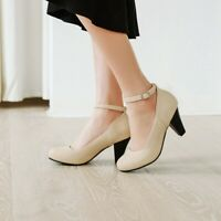 Women Round Toe Mid Cone Heels Ankle Strap Mary Jane Office Casual Roman Shoe Sz