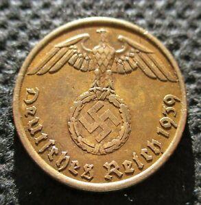 OLD COIN OF THIRD REICH GERMANY 5 REICHSPFENNIG 1939 A BERLIN SWASTIKA