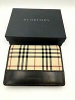 Burberry Bi-Fold Wallet Dark Brown Check With Coin Purse Pole Card Case