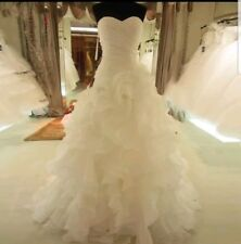 UK Sweetheart Ivory Strapless Pleated Organza A Line  Wedding Dress Size12 or 14