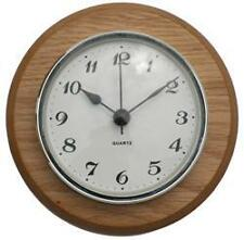 Oak Clock Suitable for Caravans, Motorhomes and Boats Arabic dial Silver bezel