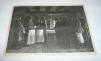 1880 magazine engraving ~ WRESTLERS OF THE SPIRIT Russian Sect ~ Doukhobors