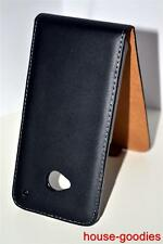 Black Genuine Leather Real Leather Flip Case Cover Skin For HTC One 801s M7