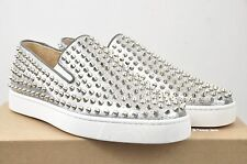 CHRISTIAN LOUBOUTIN Authentic New Silver Leather Rollerboat Sneakers sz 44 11