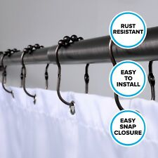 Bronze Easy Roller Shower Curtain Rings - Set of 12 Rust Resistant Curtain Rings