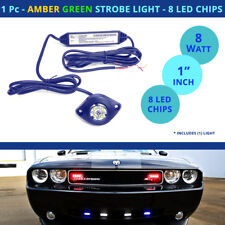 1 Pc - LED Strobe Light Hideaway - AMBER / GREEN Flash Car Truck - 8 Chip