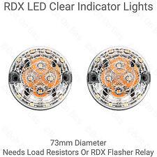 2 RDX LED 73mm Clear Indicator Lights For Land Rover Defender 90 110 Kit Cars