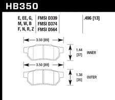 Hawk Disc Brake Pad-Si Rear for Acura Integra / Honda Civic Accord # HB350B.496