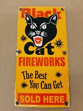 Black Cat Fireworks Sold Here Porcelain Sign July 4th Party Gun Powder Halloween
