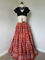 Black and Red patterned stripes with Black body and White stripes 25 yard performance skirt
