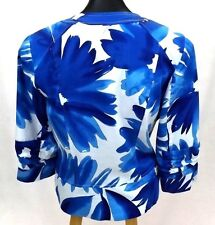 NWOT COLDWATER CREEK Women's Blue FLORAL Blazer, 8, Jacket, Coat 3/4 sleeves