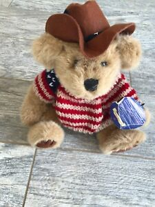"NWT Patriotic Brass Button Cody 11"" Bears Western Cowboy Hat Knit USA Sweater"