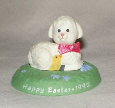 Hallmark Merry Miniature 1992 Easter Lamb and Chick on Green Base