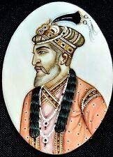 Exquisite Hand Hainted Antique Indian Portrait Miniature of Shah Jahan c1890