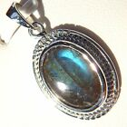 5.3 cts Natural Labradorite Pendant 925 Sterling Silver Rhodium Finish