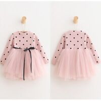 Flower Girls Baby Kids Clothes Long Sleeve Polka Dot Party Princess Tutu Dress