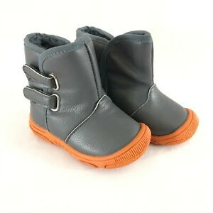 Toddler Boys Boots Faux Leather Faux Fur Lined Gray Orange Size 21 US 5