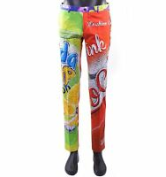 MOSCHINO COUTURE RUNWAY Slim Chino Trousers Pants w. Soda Pop Print Red 05415