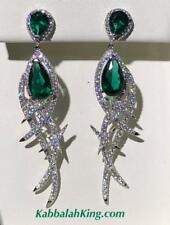Platinum Sterling Silver Green White Sapphire Halo Red Carpet Chandelier Earring