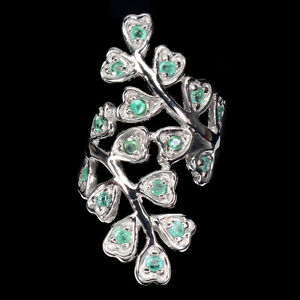 Unheated Round Green Emerald 14K White Gold Plate 925 Sterling Silver Ring 6.5