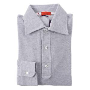 Isaia Long Sleeve Light Gray Pique Knit Extrafine Cotton Polo Shirt M