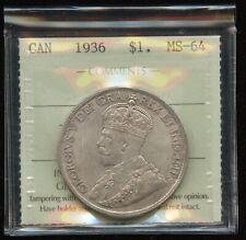 1936 Canada $1 Silver Dollar - ICCS MS-64 - XTD125