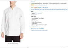 New Chef Code Men's Long Sleeve Unisex Classic Chef Coat White Medium Amazon