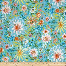 By 1/2 Yard ~ Free Spirit Fabric ~ Watercolor Floral in Turquoise ~ Dena Designs
