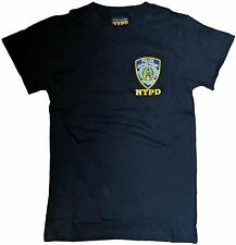 MENS NYPD T-SHIRT EMBROIDERED LOGO NAVY BLUE OFFICIAL