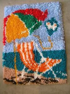 "Mid Century Handmade Hooked Rug of Beach Umbrella on Sand 28"" x 20"""
