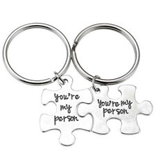 2X/1set Chic Silvery Metal Puzzle You're My Person Lover Couple Keychain Keyring