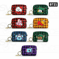BTS BT21 Official Authentic Goods PU Check Square Pouch S +Tracking Number