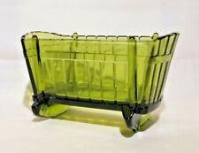Vintage Indiana Glass Rocking Baby Crib Cradle Dark Green Glass