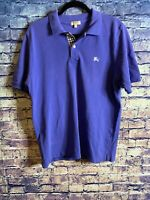 Burberry London Polo Nova Checker Purple Classic Fit Size L Free Shipping Look🔥